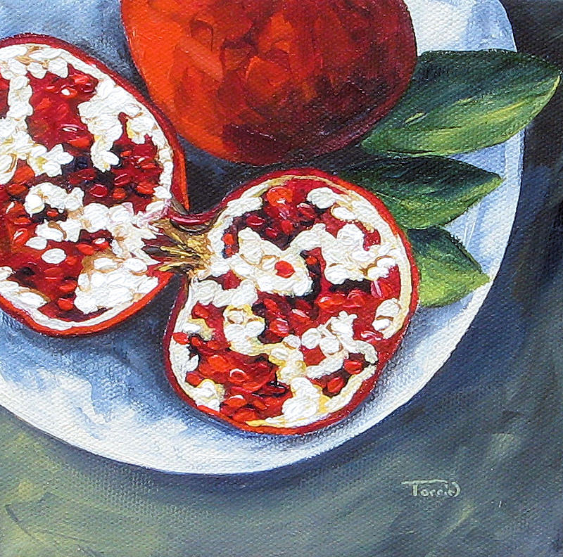 Pomegranate Painting - Pomegranates On A Plate  by Torrie Smiley