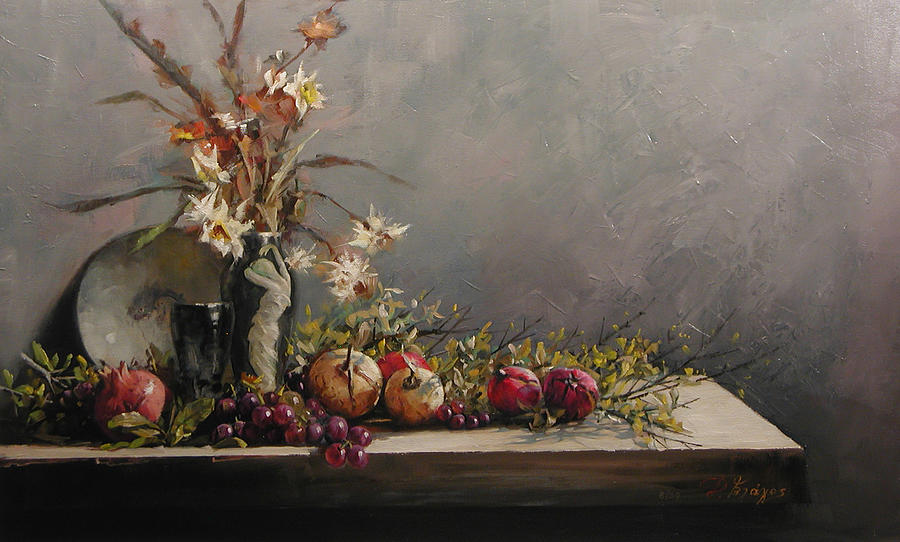 Pomegranates Painting - Pomegranates With A Black  Vase by Demetrios Vlachos