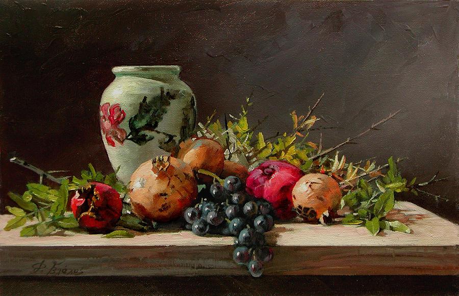 Pomegranates Painting - Pomegranates With A White Vase by Demetrios Vlachos