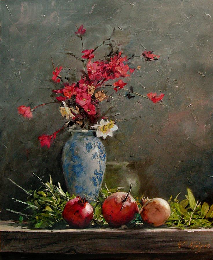 Pomegranates Painting - Pomegranates With Red Flowers by Demetrios Vlachos