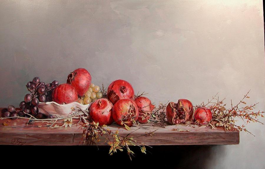 Pomegranates Painting - Pomegranates With White Pot by Demetrios Vlachos
