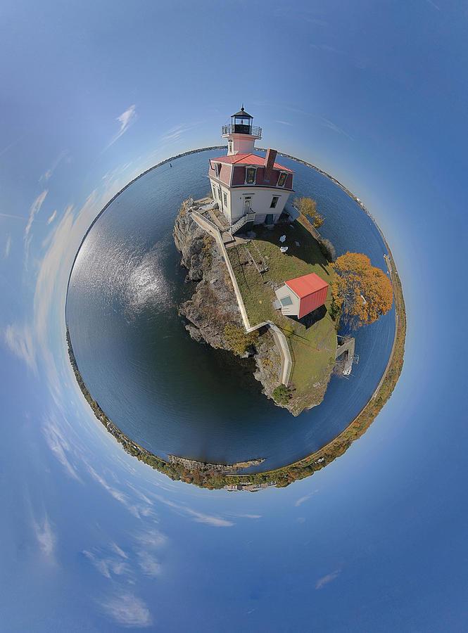 Lighthouse Photograph - Pomham Rocks Lighthouse Little Planet by Christopher Blake