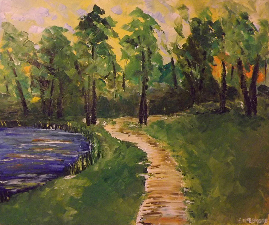 Landscape Painting - Pond and Trail by Emily McLemore