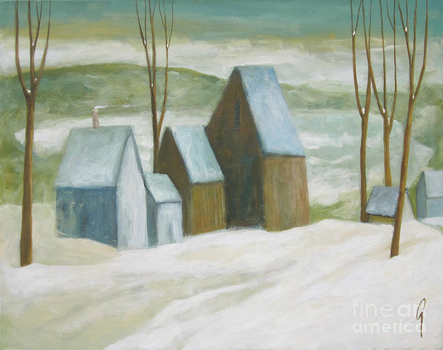 Winter Painting - Pond Farm In Winter by Glenn Quist