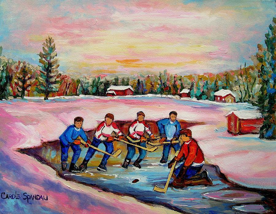 Pond Hockey Painting - Pond Hockey Warm Day by Carole Spandau