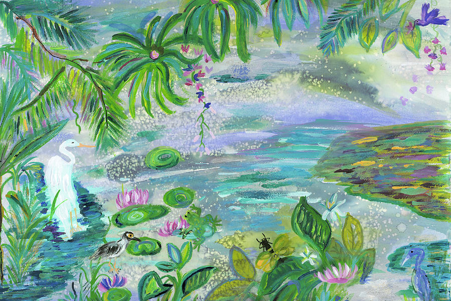 Grenada Painting - Pond In The Morning by Bridget Weber