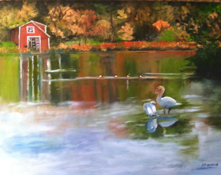 Swans Painting - Pond Reflections by Lynne Atwood