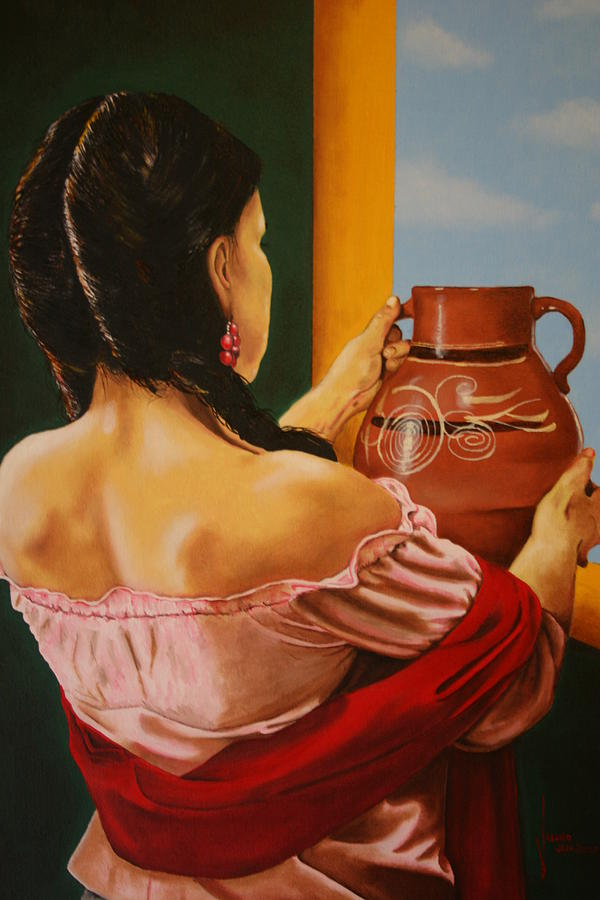 Figures Painting - Pones Agua Fresca En Un Jarron by Jose Tello
