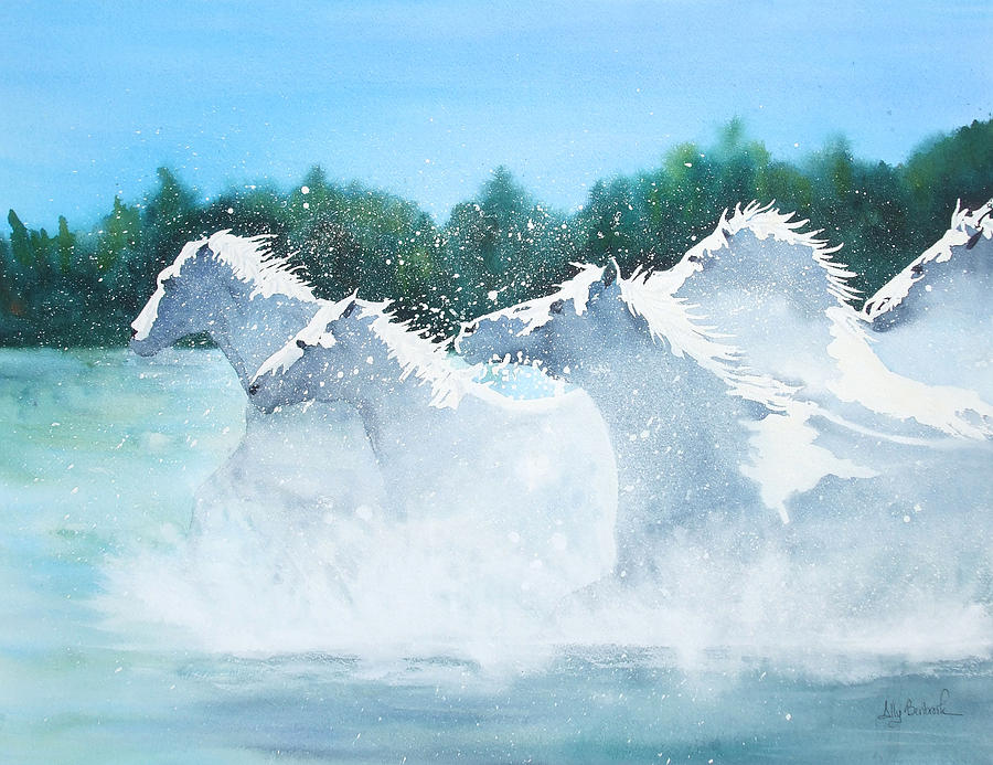 Horse Painting - Splash 2 by Ally Benbrook