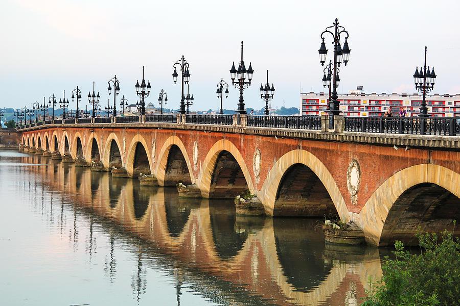 Ancient Photograph - Pont De Pierre In Bordeaux - Aquitaine, France by Freepassenger By Ozzy CG