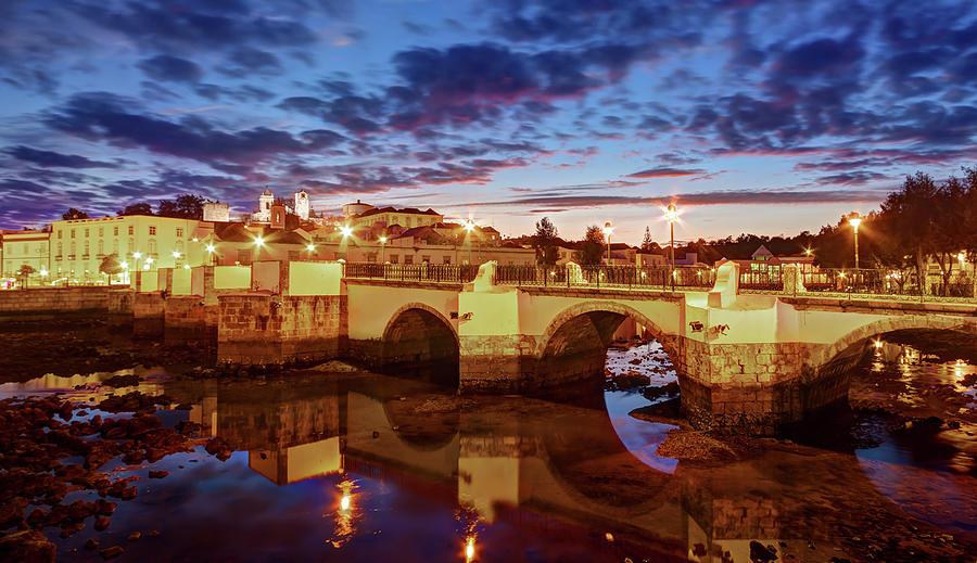 Ponte Romana at Dusk - Tavira, Portugal by Barry O Carroll
