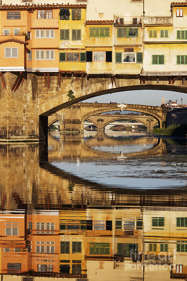 Arch Photograph - Ponte Vecchio Crossing The River A by Jeremy Woodhouse