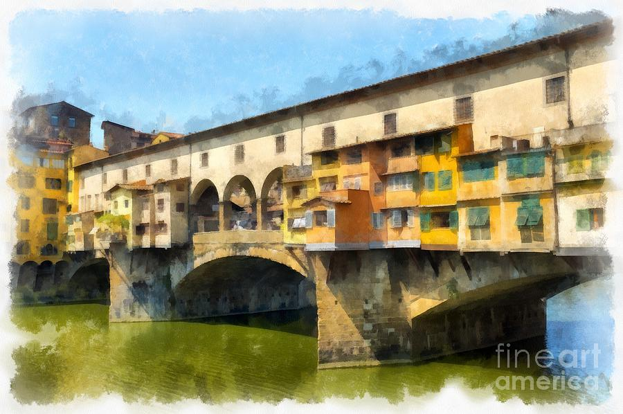 Vecchio Painting - Ponte Vecchio Florence Italy by Edward Fielding