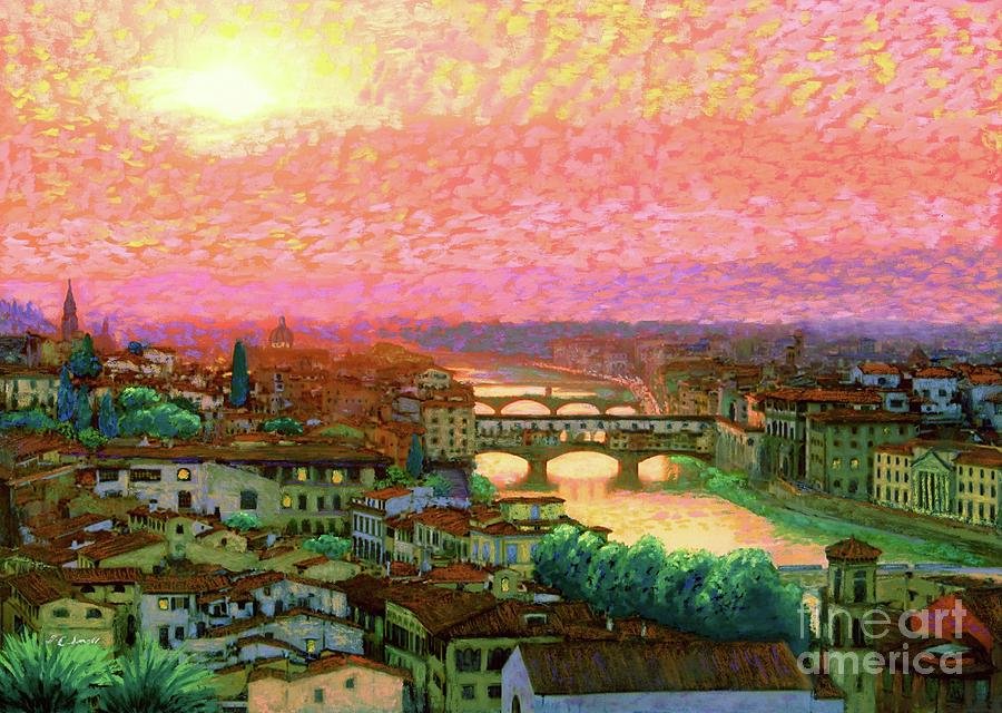 Italy Painting - Ponte Vecchio Sunset Florence by Jane Small