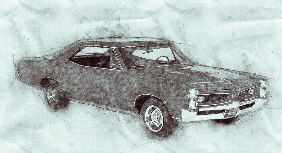 Pontiac Gto 1 - 1967 - Automotive Art - Car Posters Mixed Media