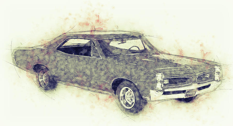 Pontiac Gto - 1967 - Automotive Art - Car Posters Mixed Media