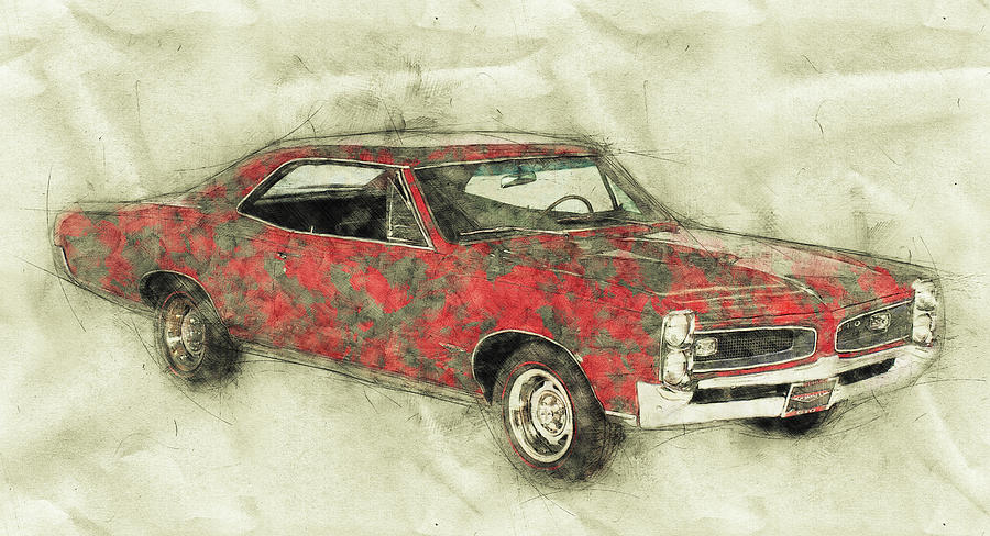 Pontiac Gto 2 1967 Automotive Art Car Posters Mixed Media By