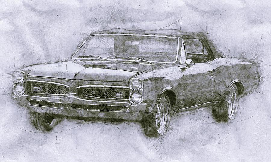 Pontiac Gto 4 - 1967 - Automotive Art - Car Posters Mixed Media