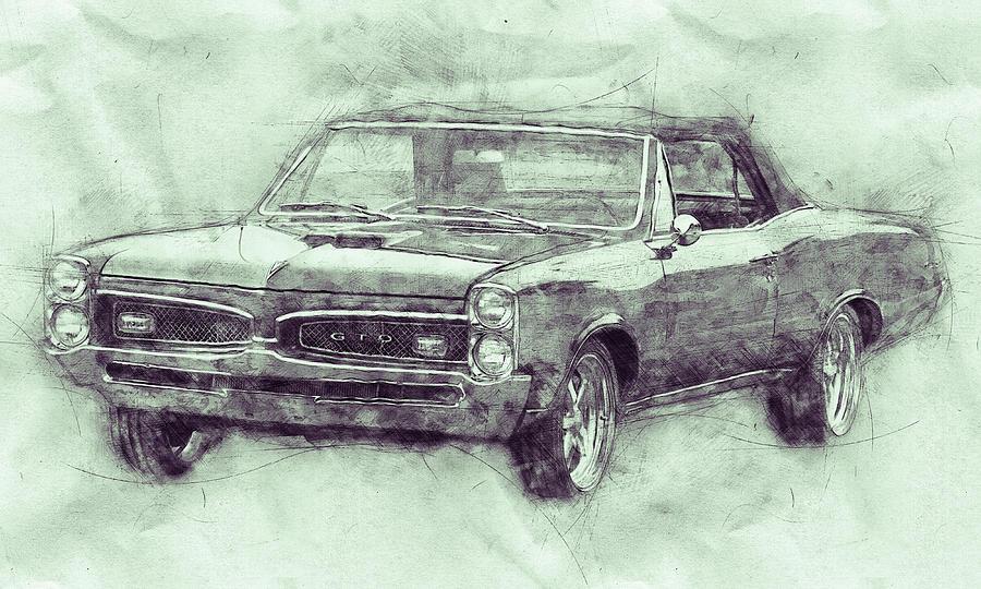 Pontiac Gto 7 - 1967 - Automotive Art - Car Posters Mixed Media