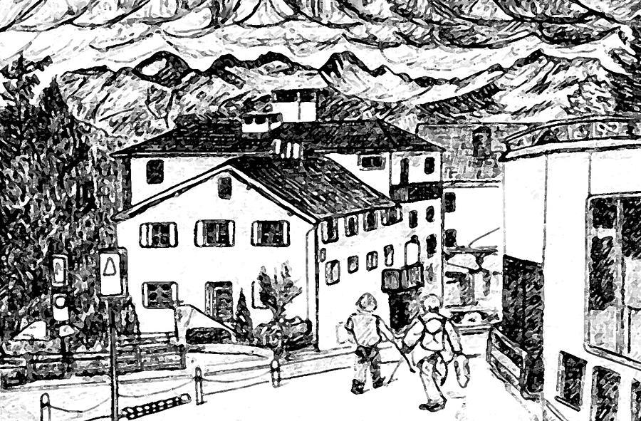 Switzerland Drawing - Pontresina Switzerland by Monica Engeler