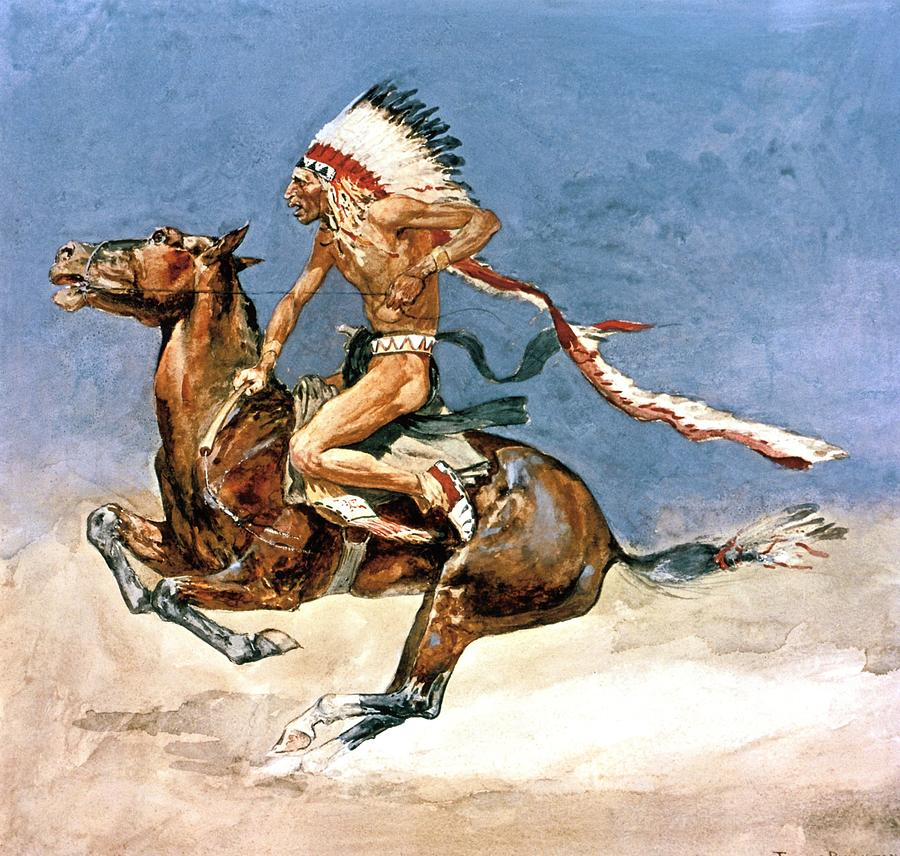 Native American Digital Art - Pony War Dance by Frederic Remington