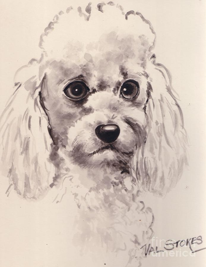 Poodle Painting - Poodlepup by Val Stokes
