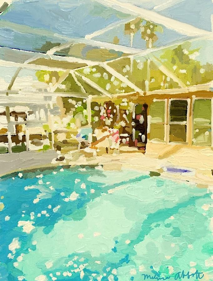 Pool Painting - Pool And Screened Pool House by Melissa Abbott