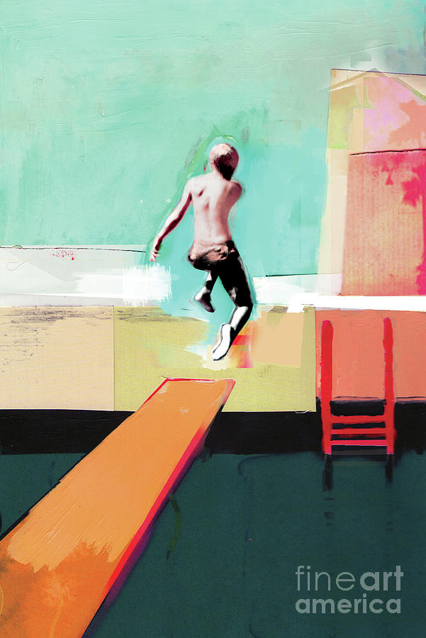 Diving Board Painting - Pool Day by David McConochie
