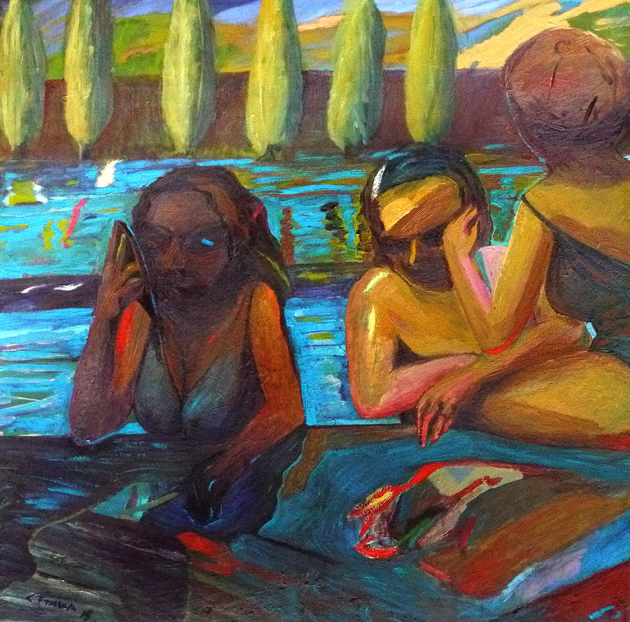 Painting Oil Painting - Pool Party by Claudio Frasca