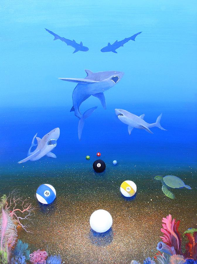 Sharks Painting - Pool Sharks 2 by Mario Robles