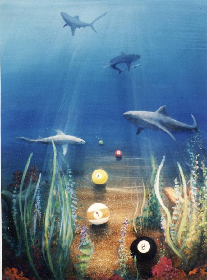 Sharks Painting - Pool Sharks by Mario Robles