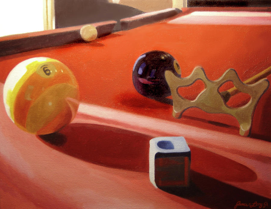Pool Table Conspiracy Painting By JJ Long - Pool table painting