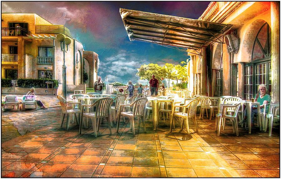 Es Canutells Digital Art - Poolside Bar by John Lynch