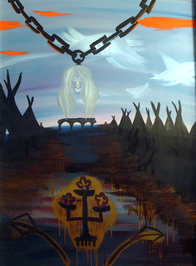 Surrealist Painting - Poor Barbara And The Indians by Zsuzsa Sedah Mathe
