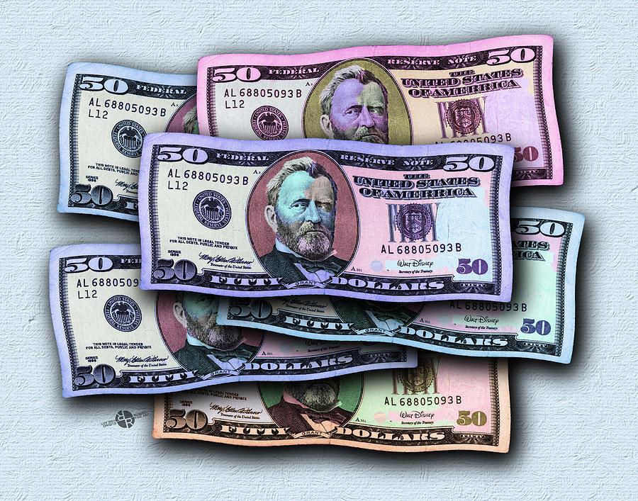 50 Dollar Bills In The Wind All Colors In Spectrum 2 Pop Art Painting