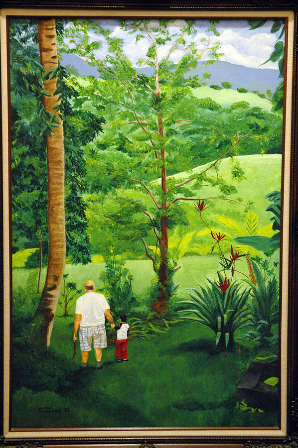 People Painting - Pop And Robert Looking For Pineapples by Tito Santiago
