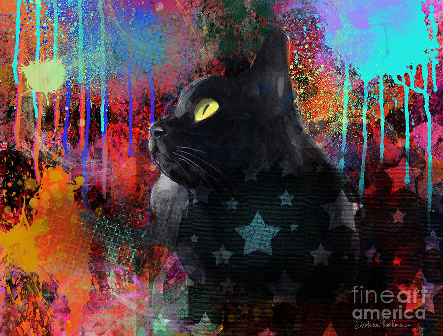 pop art black cat painting print painting by svetlana novikova
