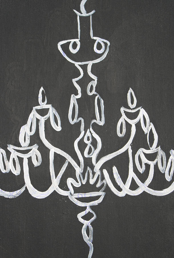 Black Paintings Painting - Pop Art Chandelier Paintings-black And White by Mikayla Ziegler
