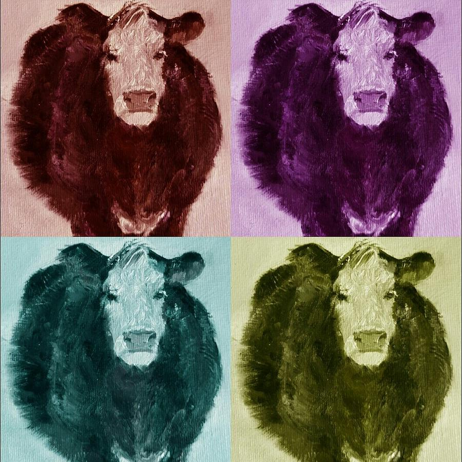Cows Painting - Pop Art Cows Bright by Michele Carter