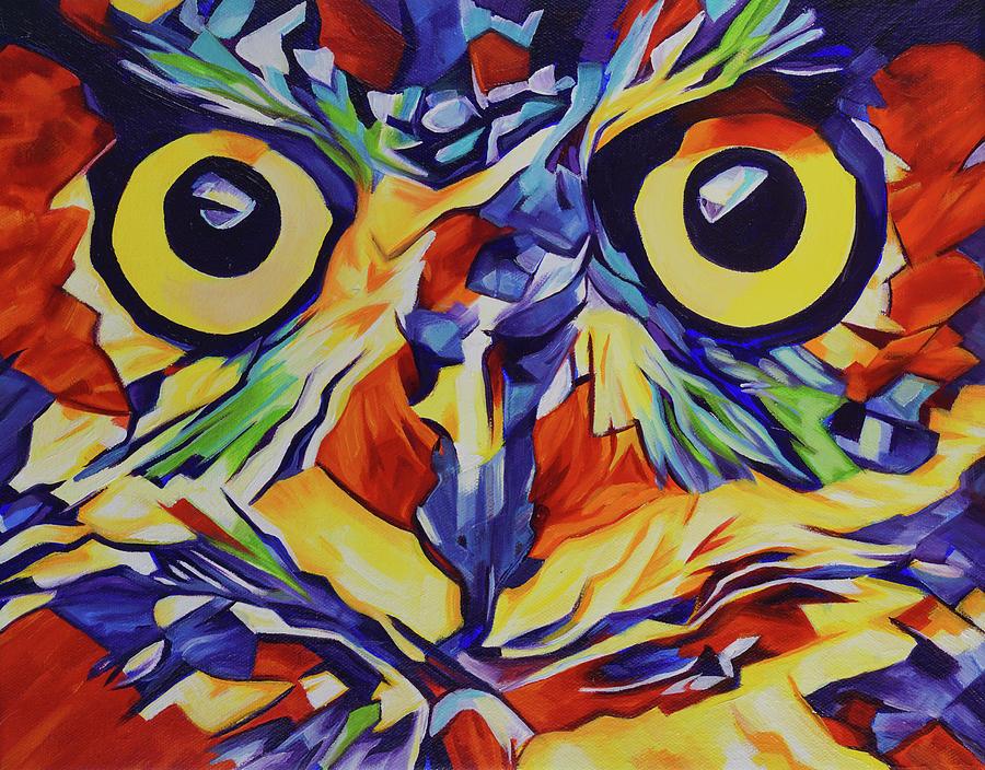Owl Painting - Pop Art Owl Face-1 by Cameron Dixon