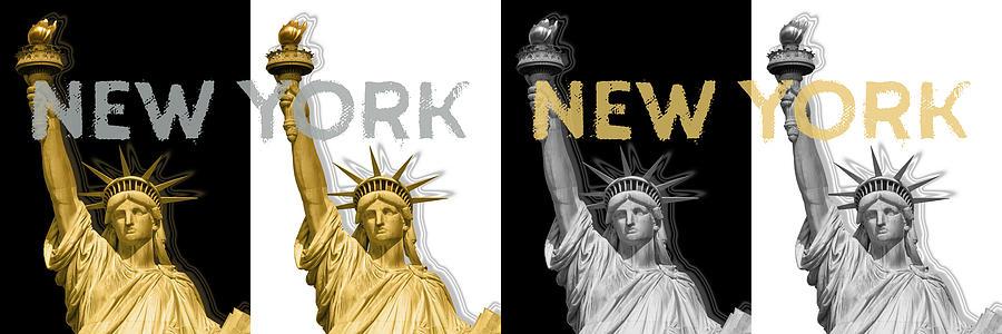 Manhattan Digital Art - Pop Art Statue Of Liberty - New York New York - Panoramic Golden Silver by Melanie Viola