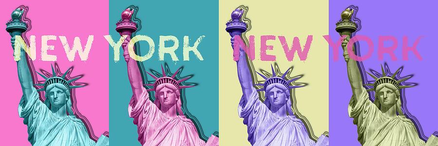 Manhattan Digital Art - Pop Art Statue Of Liberty - New York New York - Panoramic by Melanie Viola