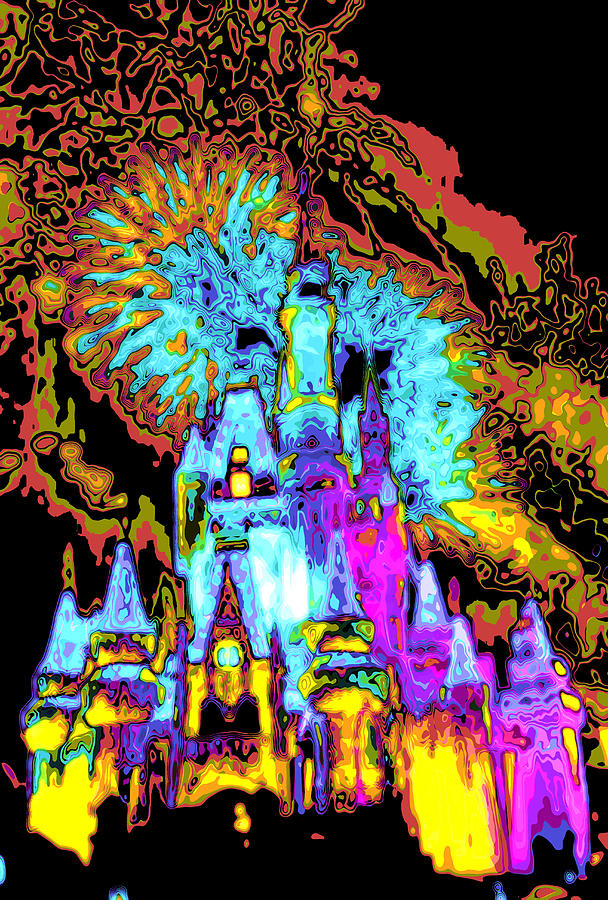 Disney World Digital Art - PopArt Castle by Charles  Ridgway