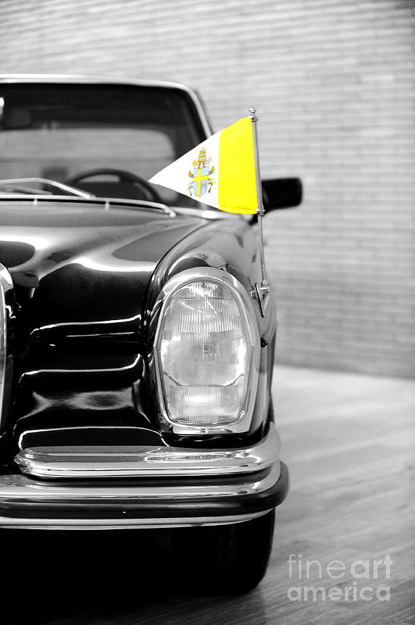 Black And White Photograph - Pope Car in Vatican city by Stefano Senise