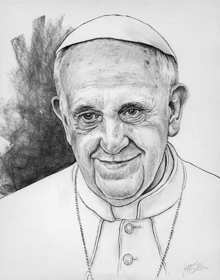 Pope Francis Drawing By Jeanne Beutler