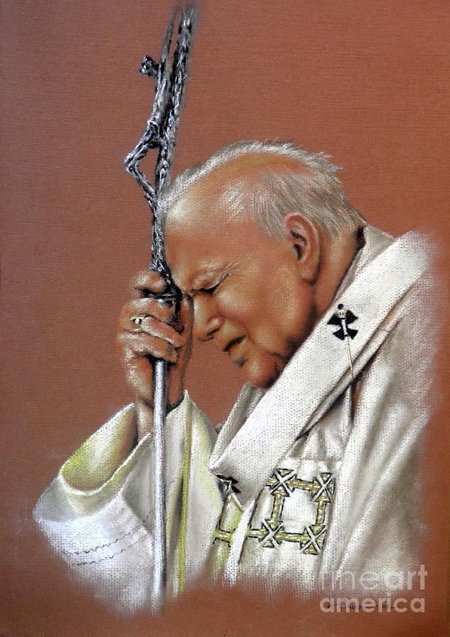 Pope John Paul 2nd. Pope Pastel Painting. Pastel Pope Painting. Portrait Of The Pope. Pastel Paintin Pastel - Pope John Paul. 2nd. by Tony Calleja