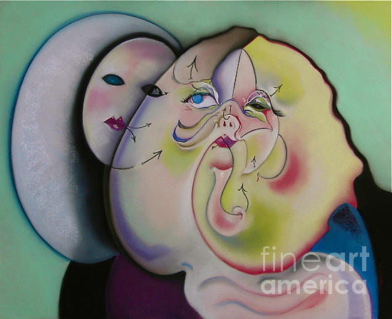 Abstract Portrait Pastel - Popeil Plastic Surgery by Tracey Levine