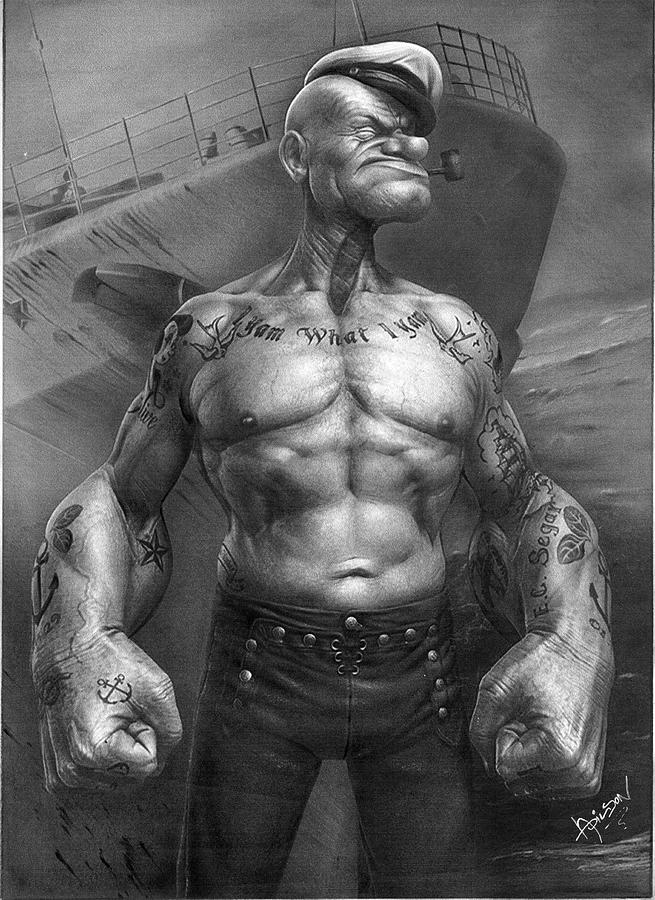 Popeye Realistic Drawing By Adilson Silva