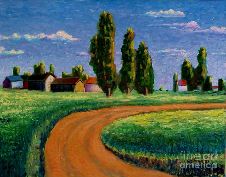 Landscape Painting - Poplars by Ushangi Kumelashvili