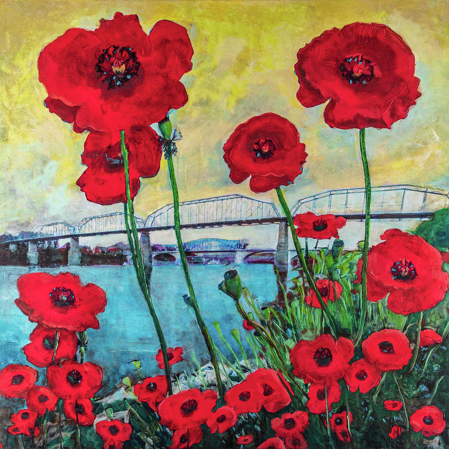 Poppies Along the Riverfront by Steven Llorca